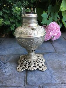 Antique Ornate Victorian 1800 S Aladin Silver Lamp Kerosene Oil No 180