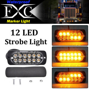 1x Amber 12 Led Strobe Light Bar Truck Hazard Beacon Flash Warning Emergency 36w