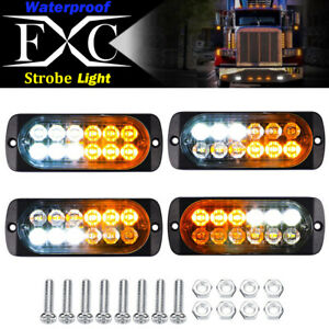 4x 12 led Car Truck Strobe Emergency Warning Light Deck Dash Grill White Amber