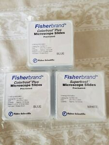 New Lot Of 3 Fisherbrand Colorfrost Microscope Slides 2 X Blue 1 X White
