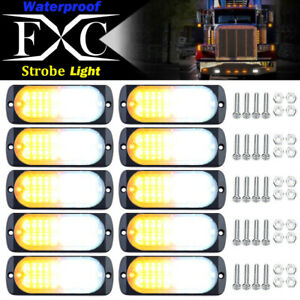 10 Pcs 20 led Strobe Lights Emergency Flashing Warning Beacon White Amber 12 24v