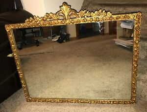 Antique Victorian Mirror W Gold Gesso Detailed Carved Wood Frame 34 X 26
