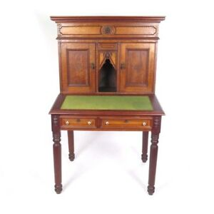 Antique Secretary Writing Desk Tiger Bird Eye Maple Wells Fargo Style Orleans Ma
