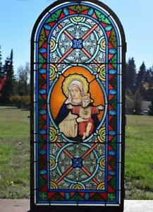 Antique French Stained Glass Panel W Leaded Glass Mary And Jesus Religious