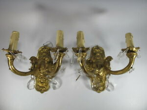 Vintage Pair Of French Bronze Glass Wall Sconces 5866