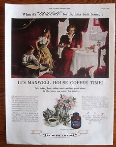 Serviceman's Loot Box Opened by Wife and Children WWII Maxwell Coffee Ad