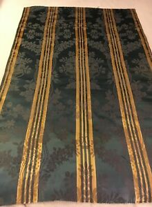 Vintage Blue Gold French Silk Fabric 0 X 21