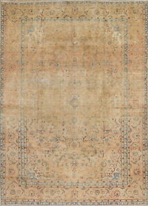 Persian 9x13 Hand Knotted Wool Floral Muted Oriental Area Rug 12 7 X 9 0