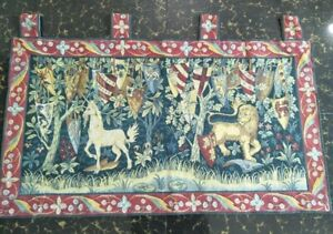 Antique 19c Aubusson French Woven Tapestry Beautiful Color Size39 X22cm99x56