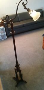 Antique Cast Iron Early Century Floor Reading Swing Lamp Light Vintage