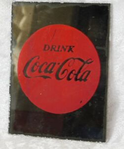 VTG DRINK COCA COLA BUTTON SIGN SMALL WALL MIRROR 5 X 4