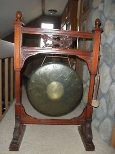 Antique Vintage Brass Or Bronze Gong On Carved Wood Stand Wood Striker
