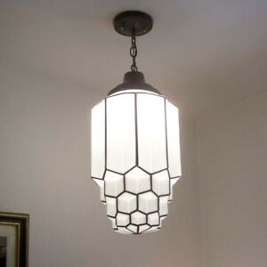 183b 1of 2 Art Deco Ceiling Light Lamp Fixture Glass Shade Pendant Skyscraper