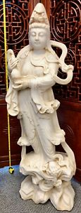 Large 50 325 Lbs Hand Carved White Solid Alabaster Kuan Yin Chinese Statue Old