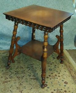 Rare Vtg Antique Victorian Gingerbread Oak Table Marked F Ritter Rochester Ny