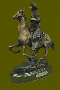 Cowboy By Frederic Remington Hand Cast Bronze On Bevelled Marble Base Figure