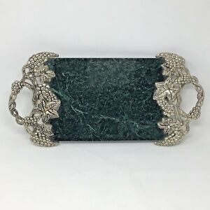 Godinger Marble Silver Cheese Serving Tray Grapevine Green Entertaining