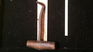 Primitive Wrought Bail Meat Ice Hook With Wood Handle