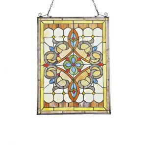 Tiffany Style Stained Glass Window Panel Victorian Medallion 17 7 W X 24 6 H