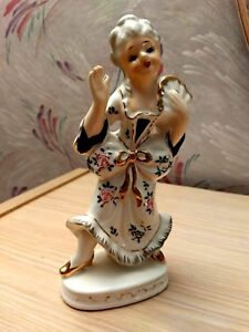 Vintage Porcelain Victorian Colonial Lady With Fan Figurine Made In Japan
