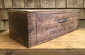 Antique Rawliegh S Good Health Dovetail Wooden Box Crate Drug Country Store Sign