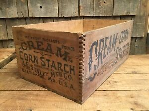 Vintage Dovetail Cream Corn Starch Wooden Box Crate Country Store Display Sign