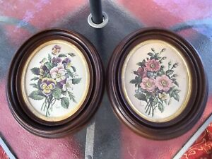 Pair Of Antique Walnut Oval Picture Frames W Glass 12x14 Dovetailed Gesso Trim