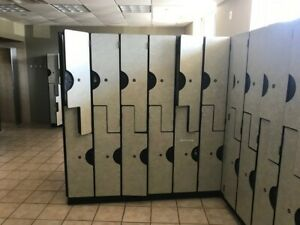 Gym Lockers Mint Condition Beautiful Neutral Finish sold In Sections