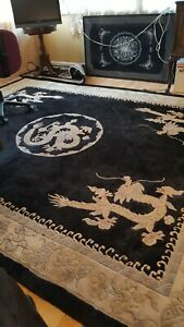 8 X 10 Vintage Hand Made Chinese Carved Wool Rug White Dragon Design Rare