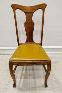 Set 4 Antique T Back Quarter Sawn American Oak Wood Dining Chairs Leather Seats