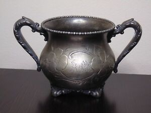 Vintage Knickerbocker Silver Co Silver Plated Footed Sugar Bowl