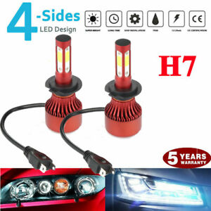 Pair 4 Sides Cree Led Headlight Kit H7 2000w 6000k 300000lm Replacement Bulbs
