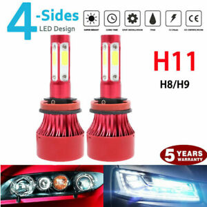 Pair 4 Sides Led Headlight Kit H11 H8 H9 2000w 6000k 300000lm Hi Low Beam Bulbs