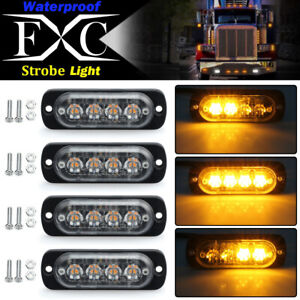 4x Amber 4 Led Flashing Recovery Strobe Car Emergency Light Grill Breakdown 12v