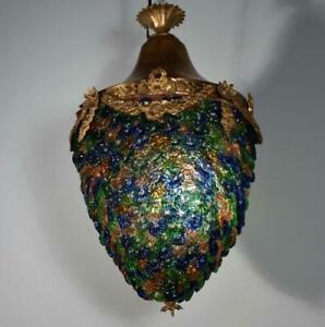 Antique Bronze Hanging Lamp Chandelier With Colorful Glass