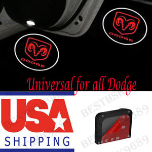 2x Wireless Car Door Lights For All Dodge Projector Logo Led Ram 1500 2500 3500