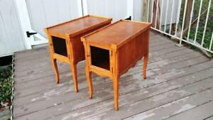 Pair Quality French Walnut End Tables W Burl Tops W Gallery Wire Mesh Doors