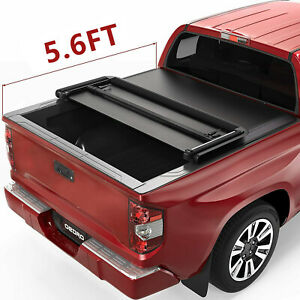 Oedro Tonneau Cover Fit For 14 19 Toyota Tundra Fleetside 5 5ft Bed Tri fold