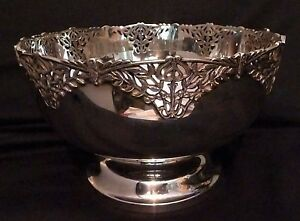 English Sterling Silver Ornate Art Deco Period Bowl By William Devenport 1929