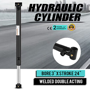 Hydraulic Cylinder 3 Bore 24 Stroke Double Acting Heavy Duty 3000psi Suitable