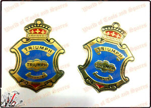 Set Of 2 Triump Brass Gas Fuel Tank tool Box Badges emblem lowest Price us