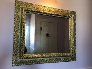 Antique Victorian Gilded Gilt Gesso Gold Frame Mirror 23 25 X 27 13 Large
