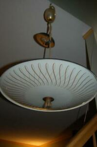 Vintage Atomic Flying Saucer Ufo Disc Mid Century Modern Ceiling Light Fixture