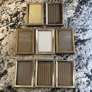 Brass Gold Tone Miniature Picture Frames Vintage Lot Of 8 Ornate Metal Small