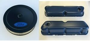 Ford Air Cleaner Valve Covers 14 Edelbrock Carburetor Blue Covers 289 302 351