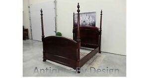 C1900 Full Size Victorian Solid Ribbon Mahogany Paw Foot Poster Bed