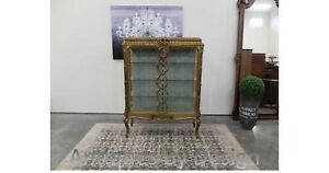 Circa 1890 Gold Gilt Marble Top French 2 Door Vitrine Crystal Cabinet On Stand