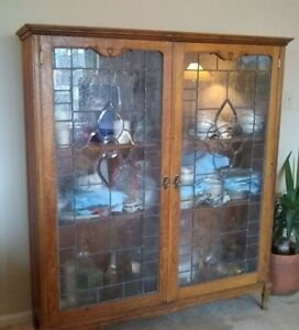 Lg Antique Oak Leaded Glass China Cabinet Display Case Bookcase Local Pickup