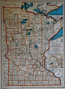 L K Vintage 1940 World Atlas Map Of Minnesota Mississippi Wwii War Map Old