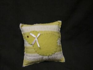 Primitive Quilted Pillow Tuck Yellow Wool Chick Easter Spring A